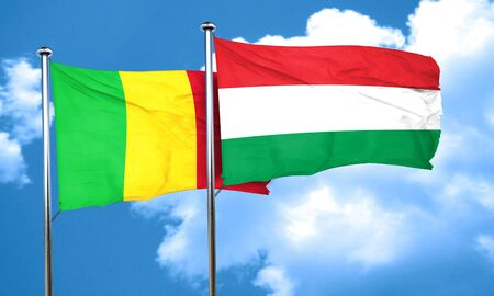 mali: Mali flag with Hungary flag, 3D rendering Stock Photo