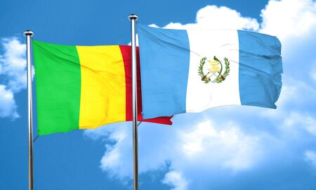 flag of guatemala: Mali flag with Guatemala flag, 3D rendering
