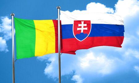 slovakia flag: Mali flag with Slovakia flag, 3D rendering