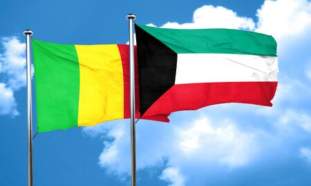 mali: Mali flag with Kuwait flag, 3D rendering Stock Photo