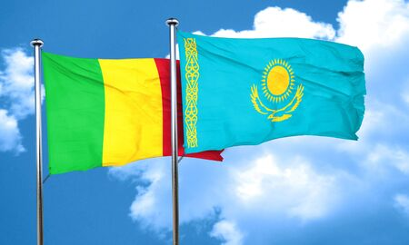 mali: Mali flag with Kazakhstan flag, 3D rendering Stock Photo