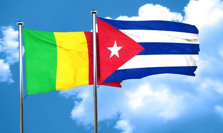 cuba flag: Mali flag with cuba flag, 3D rendering