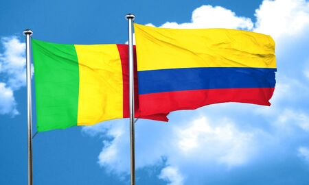 colombia flag: Mali flag with Colombia flag, 3D rendering