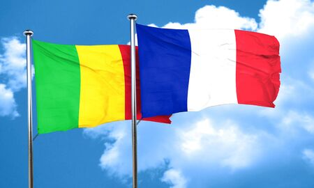 mali: Mali flag with France flag, 3D rendering
