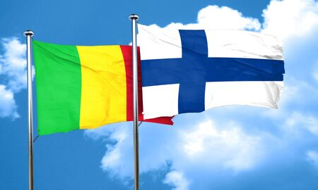 finland flag: Mali flag with Finland flag, 3D rendering