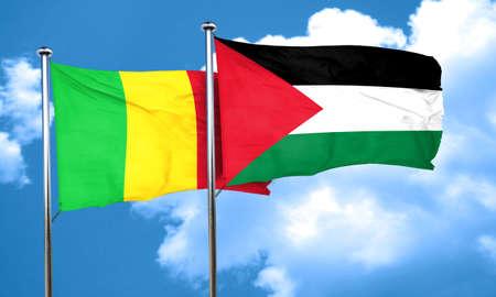 palestine: Mali flag with Palestine flag, 3D rendering