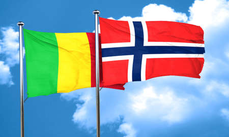 norway flag: Mali flag with Norway flag, 3D rendering