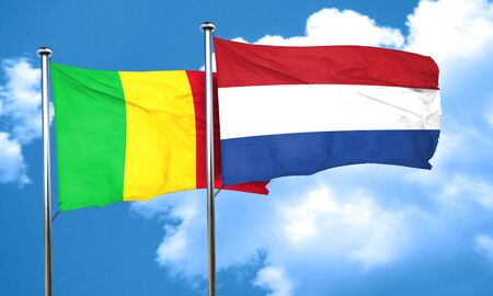 netherlands flag: Mali flag with Netherlands flag, 3D rendering