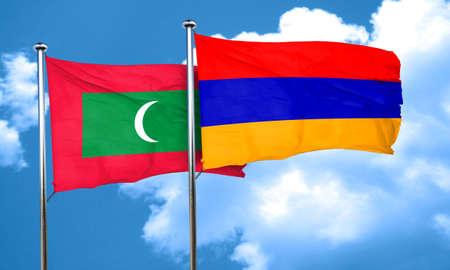 armenia: Maldives flag with Armenia flag, 3D rendering