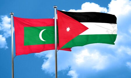 jordan: Maldives flag with Jordan flag, 3D rendering