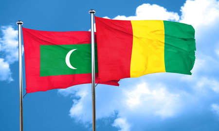maldives: Maldives flag with Guinea flag, 3D rendering