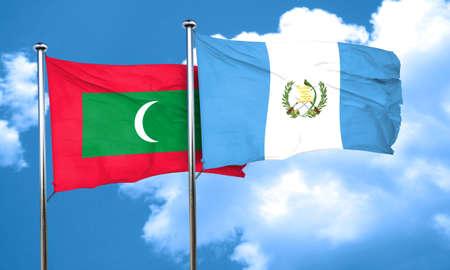 bandera de guatemala: Bandera de Maldivas con la bandera de Guatemala, 3D Foto de archivo