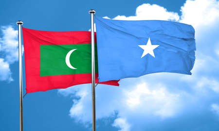 somalian culture: Maldives flag with Somalia flag, 3D rendering