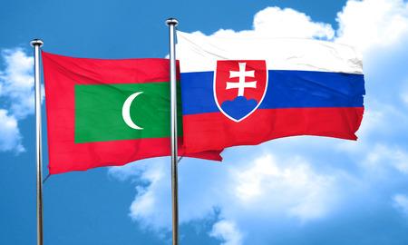 slovakia flag: Maldives flag with Slovakia flag, 3D rendering
