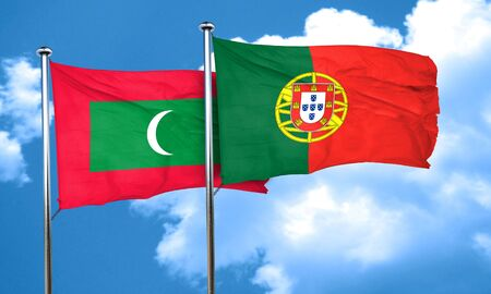maldives: Maldives flag with Portugal flag, 3D rendering Stock Photo