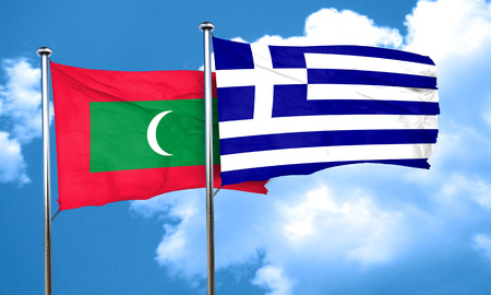 greece flag: Maldives flag with Greece flag, 3D rendering