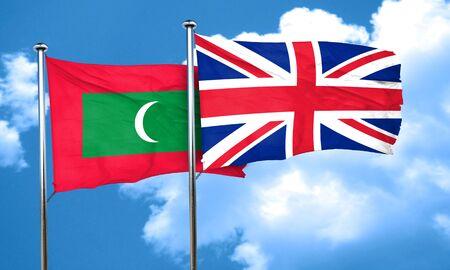 bandera de gran bretaña: Maldives flag with Great Britain flag, 3D rendering