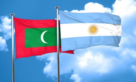 argentine: Maldives flag with Argentine flag, 3D rendering