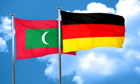 maldives: Maldives flag with Germany flag, 3D rendering Stock Photo