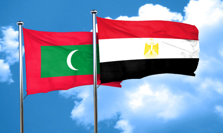 egypt flag: Maldives flag with egypt flag, 3D rendering