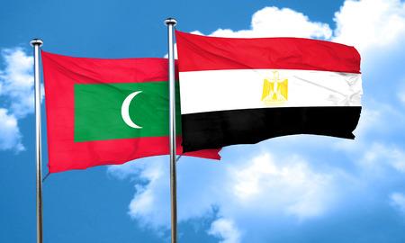 egypt flag: Maldives flag with egypt flag, 3D rendering