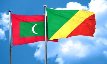 Congo: Maldives flag with congo flag, 3D rendering