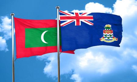 maldives island: Maldives flag with Cayman islands flag, 3D rendering