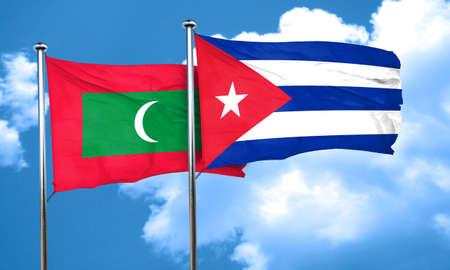cuba flag: Maldives flag with cuba flag, 3D rendering