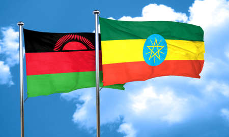 malawi flag: Malawi flag with Ethiopia flag, 3D rendering Stock Photo