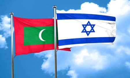 israel flag: Maldives flag with Israel flag, 3D rendering