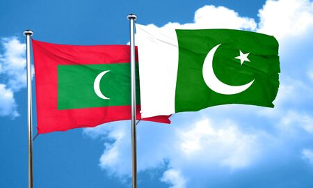 maldives: Maldives flag with Pakistan flag, 3D rendering Stock Photo