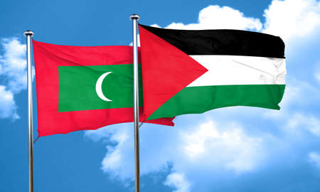 maldives: Maldives flag with Palestine flag, 3D rendering Stock Photo