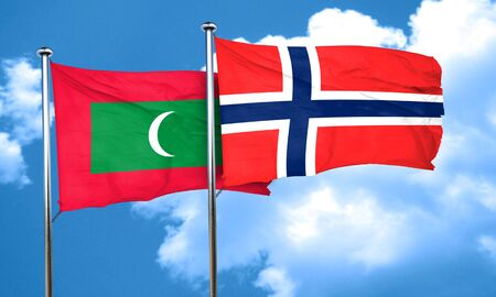 norway flag: Maldives flag with Norway flag, 3D rendering Stock Photo