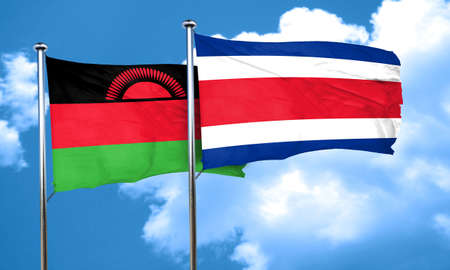 malawi flag: Malawi flag with Costa Rica flag, 3D rendering