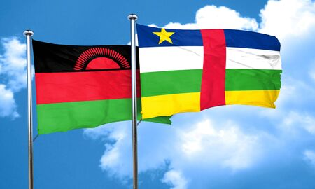 malawi flag: Malawi flag with Central African Republic flag, 3D rendering