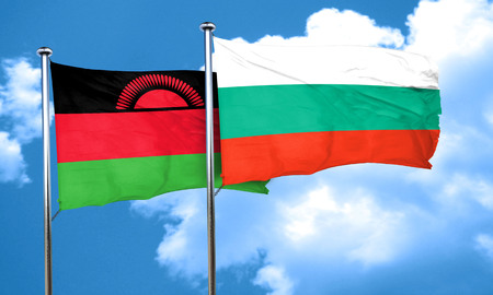 malawi flag: Malawi flag with Bulgaria flag, 3D rendering