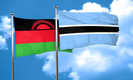 malawi flag: Malawi flag with Botswana flag, 3D rendering