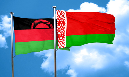 malawi flag: Malawi flag with Belarus flag, 3D rendering Stock Photo