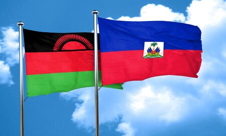 malawi flag: Malawi flag with Haiti flag, 3D rendering