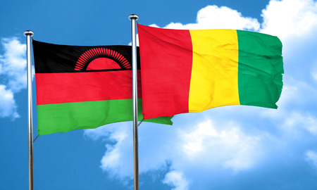 malawi flag: Malawi flag with Guinea flag, 3D rendering Stock Photo