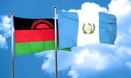 malawi flag: Malawi flag with Guatemala flag, 3D rendering Stock Photo
