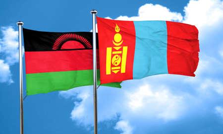 malawi: Malawi flag with Mongolia flag, 3D rendering Stock Photo