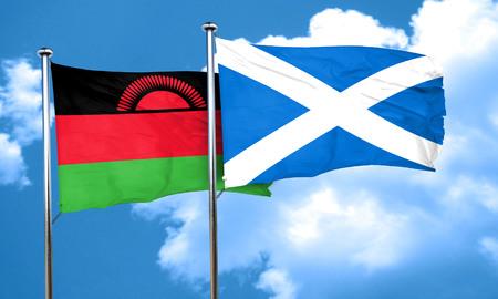 malawi: Malawi flag with Scotland flag, 3D rendering