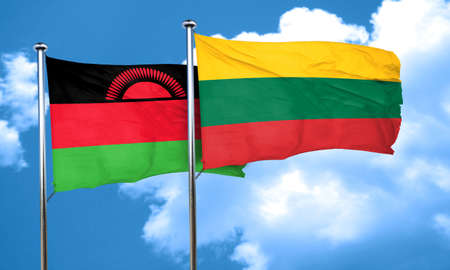 malawi flag: Malawi flag with Lithuania flag, 3D rendering