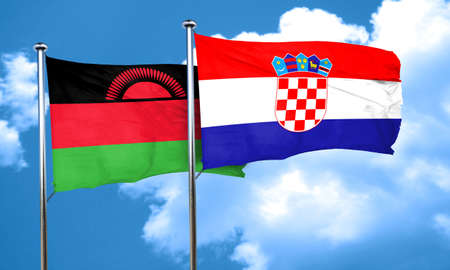 bandera croacia: Malawi flag with Croatia flag, 3D rendering