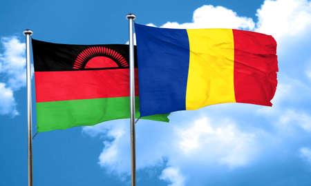 romania flag: Malawi flag with Romania flag, 3D rendering