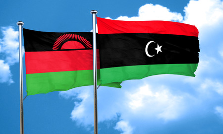 malawi flag: Malawi flag with Libya flag, 3D rendering Stock Photo