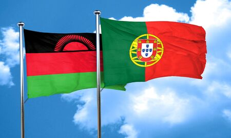 malawi flag: Malawi flag with Portugal flag, 3D rendering Stock Photo