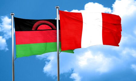 malawi flag: Malawi flag with Peru flag, 3D rendering Stock Photo