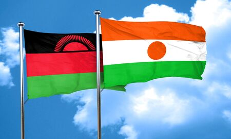 malawi flag: Malawi flag with Niger flag, 3D rendering Stock Photo